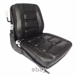 Black PVC Forklift Truck Seat + Slide Rails for TCM JCB Clack Linde Climax Still
