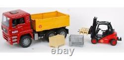 Bruder 1795 Man TGA Tilt Truck With Linde Forklift Construction Sites Toy Models