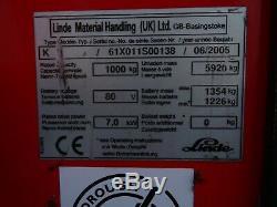 LINDE K10. 1000Kgs USED ORDER PICKER FORKLIFT TRUCK. (#2321)