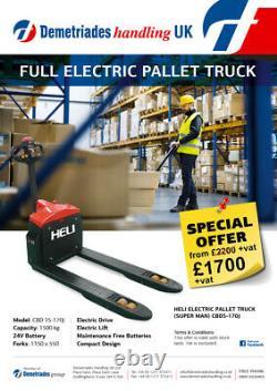 New. Full Electric Pallet Truck, 1500 Kg/ Toyota Linde Forklift