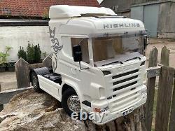1/14 Échelle Tamiya 56318 Scania R470 R/c Camion Et Rc Dickie Linde Chariot Élévateur