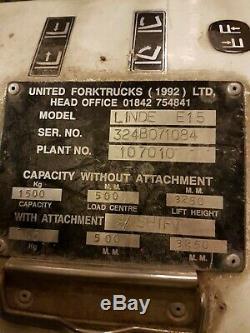Linde E15 Fourche Électrique Counterbance Ascenseur Chantier Cour D'entrepôt De Camion