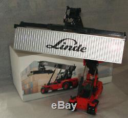 Vers. 2 Linde Container Reach Stacker Fourche Chariot Élévateur Ascenseur + Cont Métal. Mib